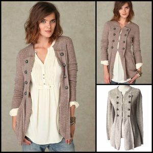 Free People 100% Wool Military Ribbed Knit Cardigan Sweater
